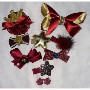 Other - Red & Gold Hair Bow Set